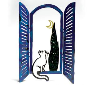 Window cat and the moon